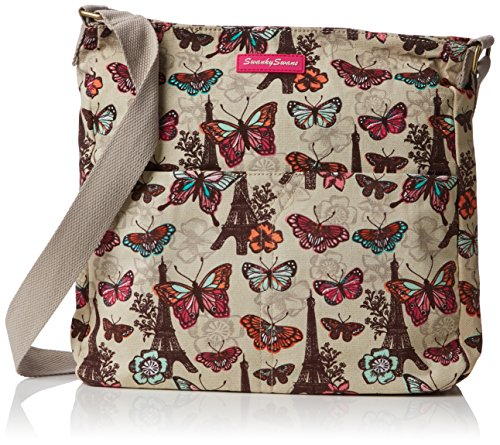 SwankySwansNoel Paris Butterfly Floral Large - Borsa a tracolla donna Beige (Beige (Beige))