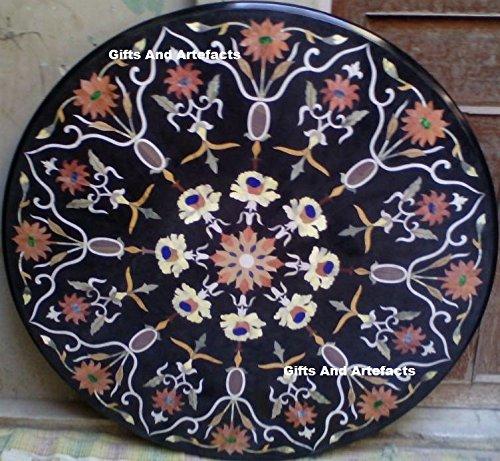 Gifts And Artefacts 106,7cm schwarz rund Marmor Sofa Tisch Top Inlay Multi Color Stein und Blumenmuster Arbeit - Marmor Top Sofa Tisch