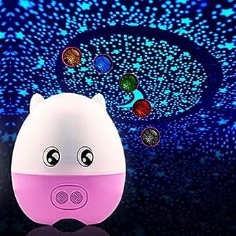 E-Plaza LED Veilleuse Lampe de bureau Belle Cochon Forme Rotation Projecteur Lampe 5 Couleur Changeant avec éloigné Contrôle pour Enfants Dormir Lovers - Rose