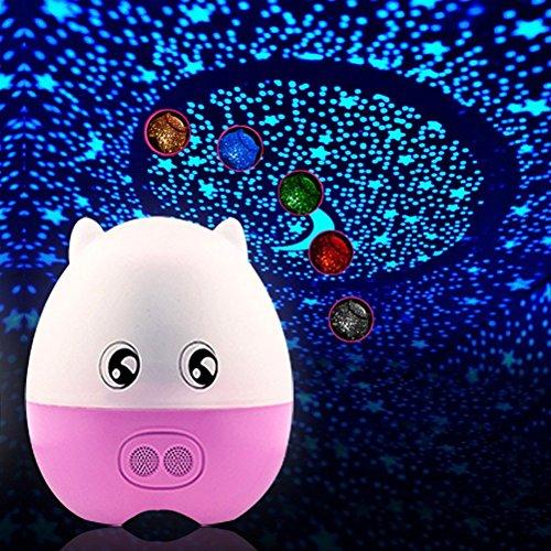 E-Plaza LED Luce notturna Lampada da scrivania Bello Maiale Forma Rotante Proiettore Lampada 5 Colore Cambiare con Remote Controllo per Bambini Addormentato Amanti (Rosa)