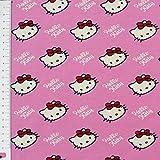 Hello Kitty Jerseystoff Baumwolljersey Lizenzstoff Sweet Heart Diagonal rosa