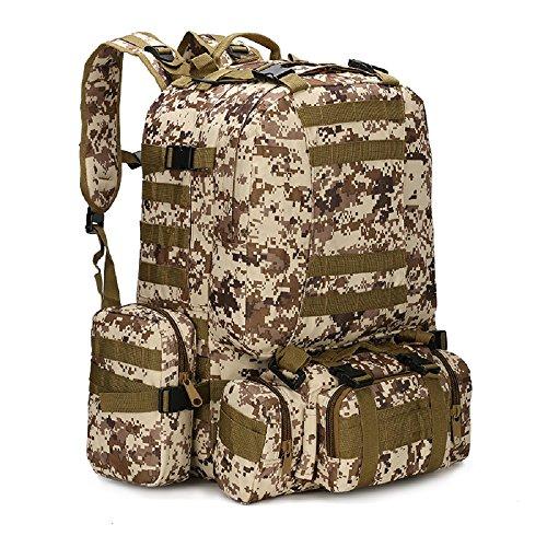 Nuovo zaino 50L tattico militare esterno assalto zaino Campeggio borsa zaino da viaggio grande, Black Digital Desert