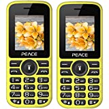 Peace P4 Yellow Black+ P4 Yellow Black COMBO OF TWO Mobile Phones With 1.8 Inch, Dual Sim, 850 MAh Battery, Wireless FM, Bluetooth, Digitel Camera, Call Recording, MP4, Internet & 1 Year Warranty