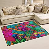 COOSUN Hippie Zeichnen gerne als Stoner Art Bereich Teppich Teppich rutschfeste Fußmatte Fußmatten für Wohnzimmer Schlafzimmer 152,4x 99,1cm, Textil, multi, 60 x 39 inch