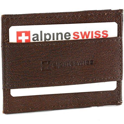 Alpine Schweizer Geldbörse aus Echtleder, superdünn, Geldbörse mit Riemen vorne - Braun - Einheitsgröße