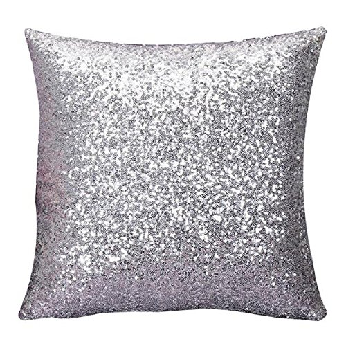 Indexp Glitter Sequins Solid Color Pillowcase Home Decor Sofa Cushion Cover (Silver)