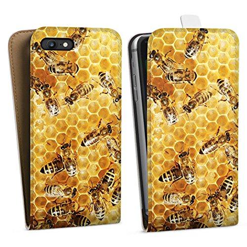 Apple iPhone 5s Hülle Case Handyhülle Bienen Biene Insekten Downflip Tasche weiß