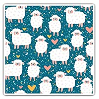 Awesome Square Stickers (Set of 2) 7.5cm - Cute Sheep Heart Lamb Kids Fun Fun Decals for Laptops,Tablets,Luggage,Scrap Booking,Fridges,Cool Gift #14792
