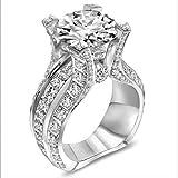 MAIHAO Fashion Women 925 Sterling Silver Ring,White Topaz Cubic Zirconia CZ Diamond Elegant Eternity Engagement Wedding Band