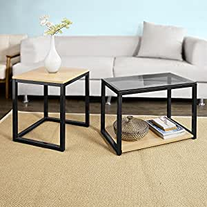 sobuy fbt35 sch tables basses gigognes set de 2 amazon. Black Bedroom Furniture Sets. Home Design Ideas