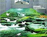 Malilove Papel De Parede Wallpaper Stream Grünen Wald Traum Badezimmer Schlafzimmer 3D-Bodenbeläge Malen Wallpaper Für Wände 3D400X280CM