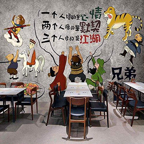 Poowef 3D Wallpaper Sfondo Tridimensionale Di Murali Dipinti A Mano Ir Serial Retrò Ristorante Barbecue Grill Wallpaper Western Tour In Un Muro Di Cemento Di Sfondo Carta Di Parete