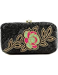 Unibrand - The Indian Handicraft Store Rose Flower On Black Beads Base Designer Handmade Box Clutch