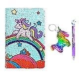 Unicorn Quaderno Notebook A5 e penna Set per bambini, Flippy Sequin Journal Diario per ragazza Writing Cancelleria Forniture per studenti con un Sequin Unicorn regalo portachiavi (Rainbow Unicorn)