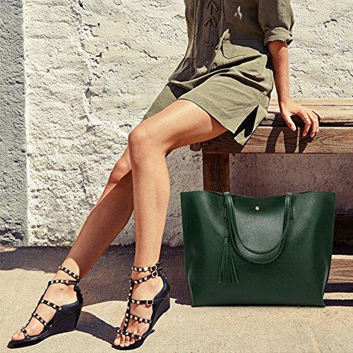 PB-SOAR Damen Mädchen Elegant Shopper Schultertasche Ledertasche Schulterbeutel Henkeltasche Handtasche Einkaufstasche aus Kunstleder (Schwarz) Dunkel Grün