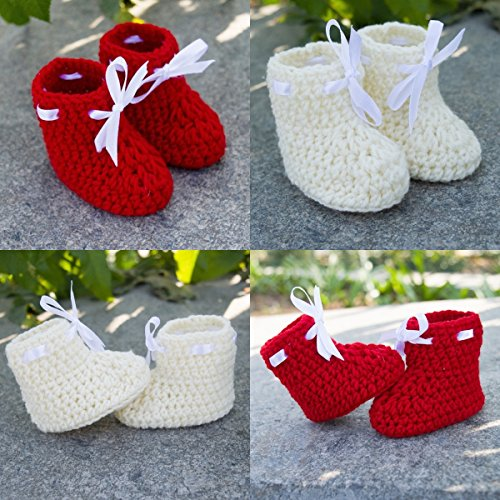 Love Crochet Art Crochet Baby Booties for New Born Baby - Set of 2 Booties Red & Off white