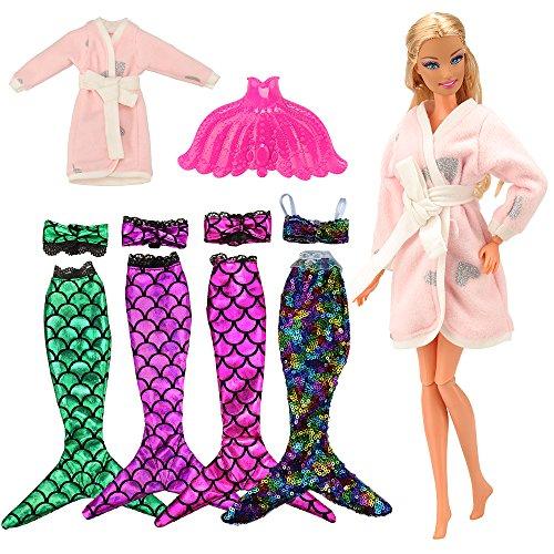 VILLAVIVI 4 Sets Bikini Meerjungfrau Kleidung Kleider Regenbogen Mermaid + 1 Mantel + 1 Plastik Fisch Schwanz Accessories Sommer Sexy für Barbie Puppen Doll