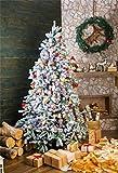 YongFoto 1,5x2,2m Foto Hintergrund Weihnachten Baum Kamin Geschenk Kranz Rentier Teppich Holz Wand Innen Frohes Jahr Fotografie Hintergrund Fotoshooting Portrait Party Kinder Hochzeit Fotostudio