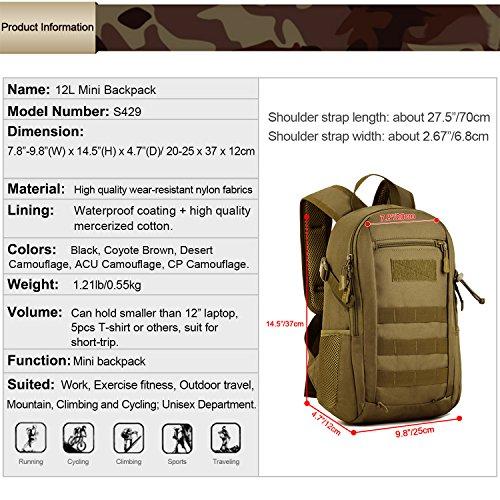 Imagen de huntvp  de asalto estilo militar táctical molle bolsa de bandolera impermeable 12l para las actividades aire libre senderismo caza viajar camping alternativa