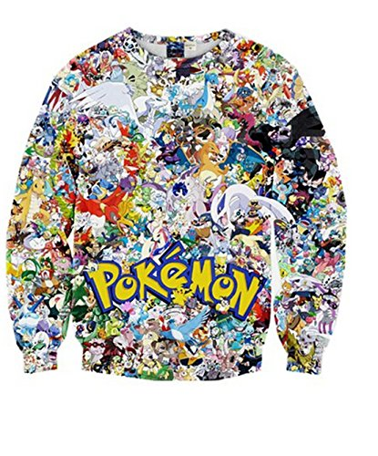 Hoodie Pokemon (Frauen Karikatur Pokemon Printed Long Sleeve 3D Digital Printed Crew Neck Pullover Strickjacke Sweatshirt (Pokemon#1)Tag)