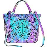 BestoU Damen Handtaschen Gitter Design Geometrische Leuchtende Tasche Schwarz PU-Leder Einzigartige Geldbörsen Frauen Umhänge
