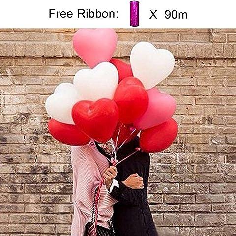 PuTwo Ballons de Baudruche en forme de Coeur Décoration de Fêtes Valentine Ballons Glonflables 12 Pouces Lot de 50 - Rose/Blanc/Rouge