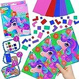 German-Trendseller ® - 6 x Mosaik Bastel Set Einhorn Kindergeburtstag ┃ Mitgebsel ┃ Bastelset für Kinder ┃ 6 Set´s