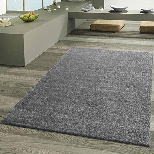 Teppich Wohnzimmer Designer Teppiche Hochwertig Frieze Schimmer Optik Luxus Grau, Größe:140x200 cm (Frieze-teppich)