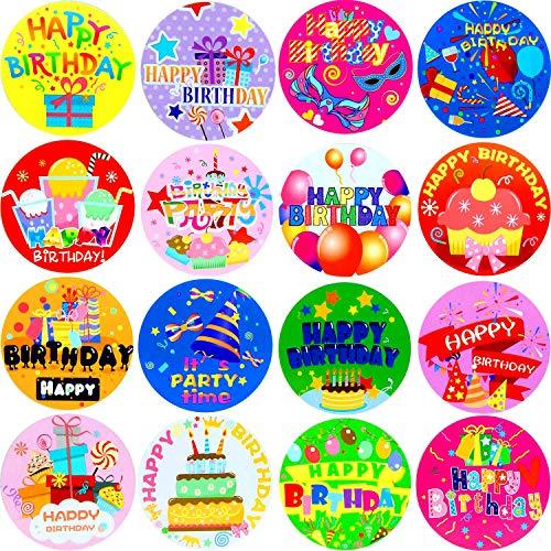 Zonon 500 Stücke Happy Birthday Roll Aufkleber Personalisierte Geburtstagsparty Etiketten für Kinder Erwachsene Mitbringsel, Umschläge, Karten, 16 Stile -