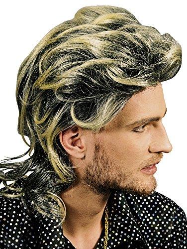 Vokuhila Perücke Maik mit Strähnen - Tolle Herren Perücke im Stil der 80er (Blonde Haare Herren)