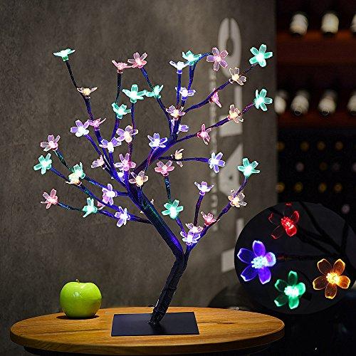 Bonsai Baum Licht Kirschblüten Tabellen Lampe, 0.45M / 1.5FT 48LED Flexible Zweige Baumlicht für Haus / Party / Hochzeit / Festival / Weihnachts Dekorationen (Mehrfarbig)
