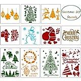 Outus 11 Pezzi Stencil di Natale Mestiere Pittura Modello di Disegno DIY Stencil per Natale Vacanza Disegno Arte Forniture