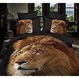 LOVE(TM)Queen Size 4-pedazos 3D de oro grande de la cabeza del león impresiones Negro funda nórdica sistemas / sistemas del lecho / Ropa de cama (Queen, 1 funda nórdica + 1 + 2 fundas de almohada hoja plana)