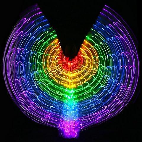 Mit Verstellbarem Stick Frauen Bauchtanz 5 Farbe Led Licht Glühend Isis Flügel 360 Grad Große Schmetterling Stützen Leistung Professionelle Outfit Kostüm . 1# . (Tan Perlen Set)