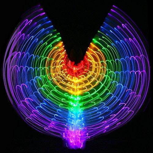 Mit Verstellbarem Stick Frauen Bauchtanz 5 Farbe Led Licht Glühend Isis Flügel 360 Grad Große Schmetterling Stützen Leistung Professionelle Outfit Kostüm . 1# . (Kostüme Flügeln Mit Lyrische Tanz)