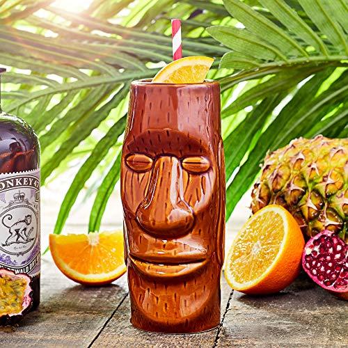 bar@drinkstuff Bicchiere, tazza da cocktail Tiki Hawaiian Isola di Pasqua, 415 ml, in ceramica di qualità,
