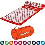 MOVIT set de acupresión »TUINA« esterilla + cojin (75x44x2.5cm) / esterilla para masajes y acupresi´n relajar y aliviar contracturas, probados para sustancias nocivas, cubierta 100% algodón, naranja