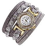 Armbanduhr Damen Uhr 2018 Böhmen Luxuriös Armbänder Frauen Mode Lässig Analog Quarz Strass Damenuhr Beige 13 Farben (Standard, Grau)