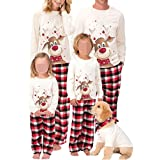 Family Christmas Pajamas Matching Sets with Dog, 2020 Christmas Pjs Nightwear Pyjama Xmas Sleepwear Set for Kids Adults