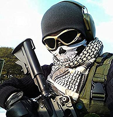 Balaclava Skull Full Face Ski Face Mask for Men Women Winter Windproof Motorcycle Neck Warmer Tactical Balaclava Hood Snowboard Cycling Hat Outdoors Helmet Liner-Ghost Black from QINGLONGLIN