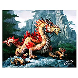 Golden Mountain Dragon ~ Age Of Dragons Collection ~ Anne Stokes ~ 26cm x 20cm Canvas Wall Plaque ~ All Items Dispatched Same Day ~ Royal Mail ~ When Purchased Before 1pm Mon - Fri