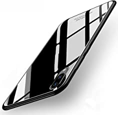 Annure Luxurious Toughened Glass Back Case with TPU Bumper Back Case Cover for Vivo V11 Pro (Black)
