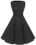 Bbonlinedress 50s Vestidos Vintage Retro Rockabilly Clásico Black White Dot 3XL