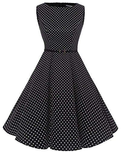 Bbonlinedress 50s Vestidos Vintage Retro Rockabilly Clásico Black White Dot XL