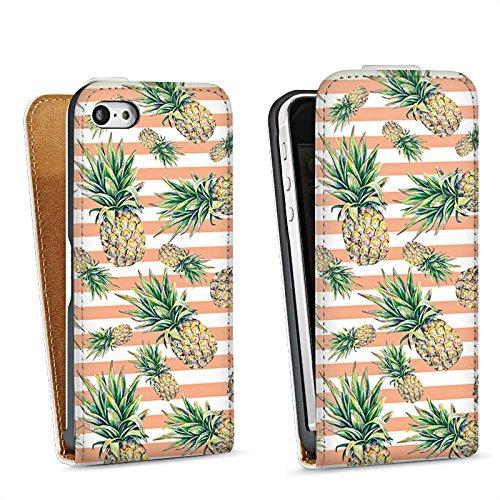Apple iPhone 5s Housse Outdoor Étui militaire Coque Ananas Fruits Été Sac Downflip blanc