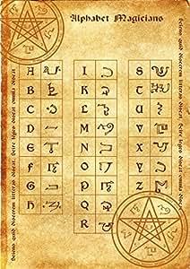 Alphabet affiche de magicien de parchemin wicca païen impression art sorcières runes magiques