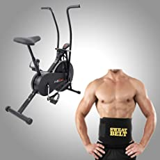 Lifeline Fitness Combo Air Bike 103 For Workout And Sweat Belt For Flat Tummy