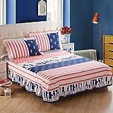 CHENGYI Blue Red Stripe patrón cama falda algodón - Best Reviews Guide