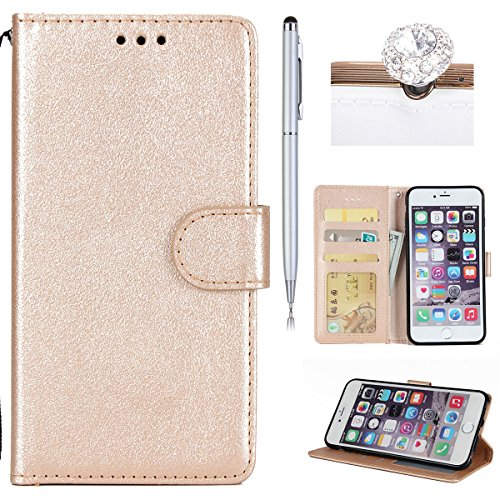 iPhone 6S Coque Dragonne Portefeuille PU Cuir Etui,iPhone 6S Coque Ultra Fine,iPhone 6 Etui Cuir Folio Housse PU Leather Case Wallet Flip Protective Cover Etui [PU Cuir et TPU Silicone Inner Case] Por Or