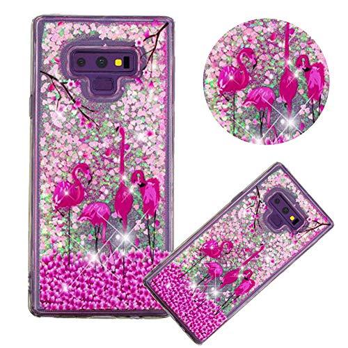 Glitzer Hülle für Samsung Galaxy Note 9,Flüssigkeit Silikon HandyHülle für Galaxy Note 9,Moiky Luxuriös Mode Flamingo Blume Muster Liebe Herzen Treibsand Diamant Weich Gummi Hülle - Flüssigkeit Blumen